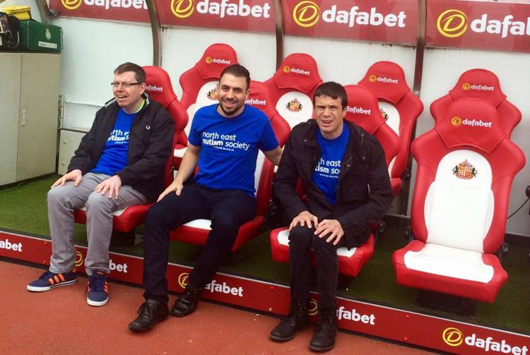 Nathan Bruce, volunteer coordiantor (Centre) with SAFC fans Paul and Michael who attend NEAS Day Services